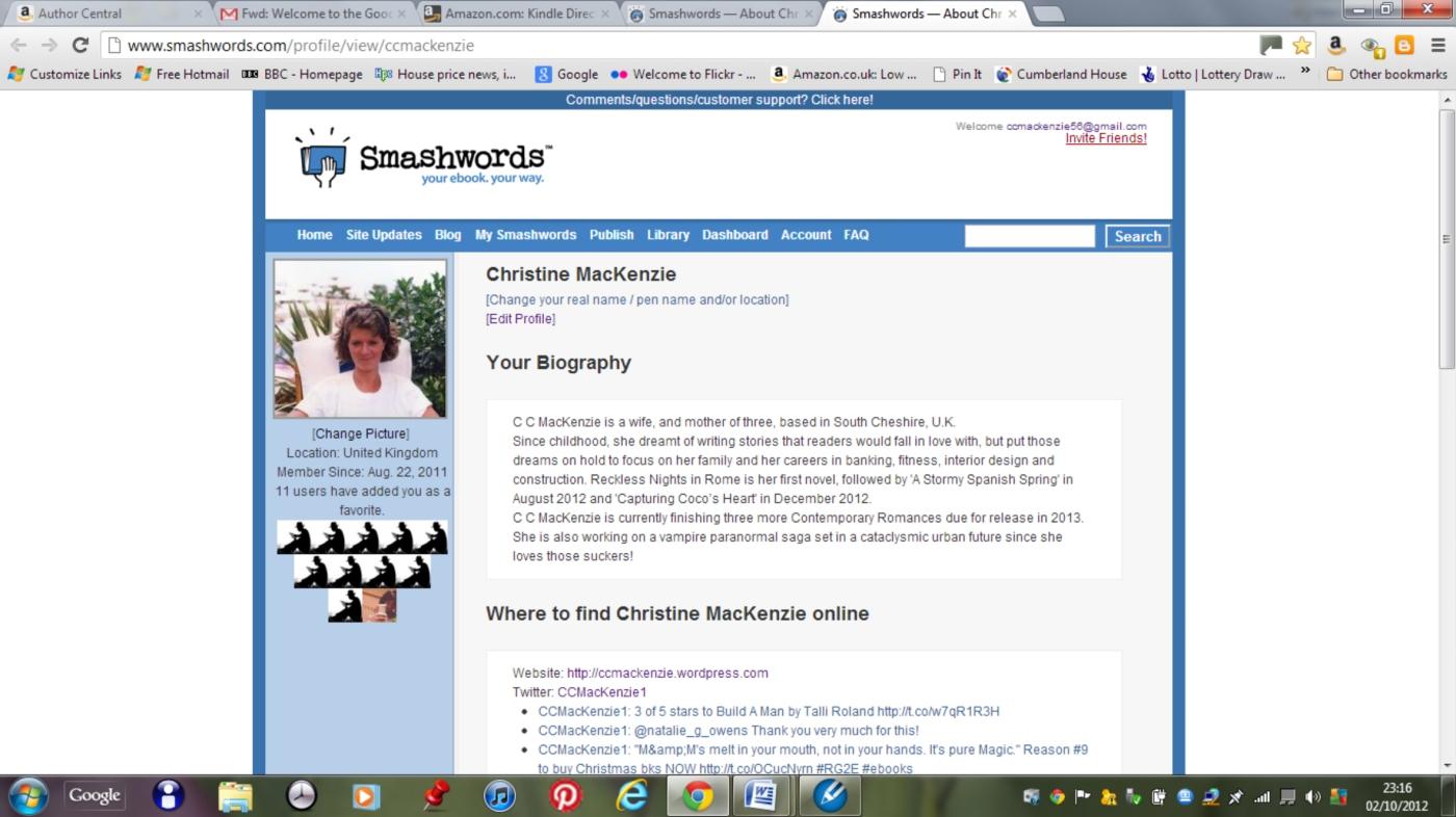 My Smashwords Author Profile | CC MACKENZIE - USA Today